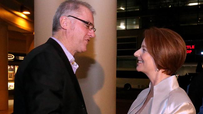 TWU national secretary Tony Sheldon with Julia Gillard. Image by http://www.theaustralian.com.au/
